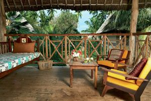 Terrasse vom Bungalow- Neptune Palm Beach Boutique Resort & Spa - Kenia