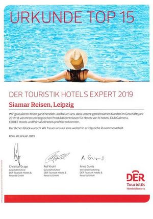 Der Touristik Hotels Expert 2019 Top 15